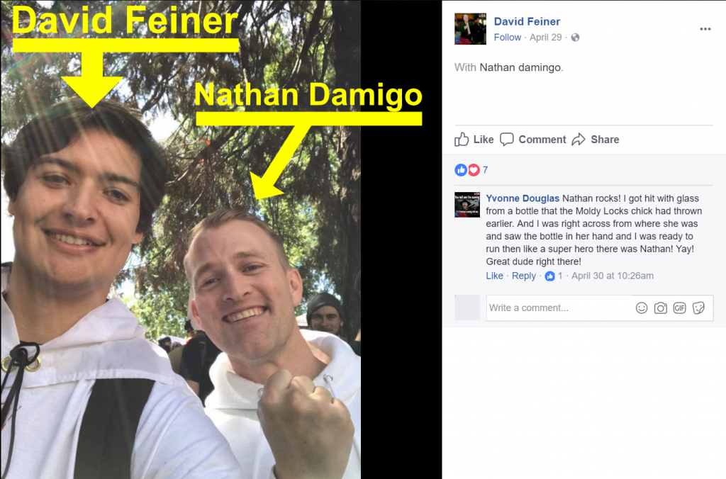 A screenshot of a post to David Feiner's Facebook page with a photo of Feiner and another individual. Feiner tagged Nathan Damigo in the post.