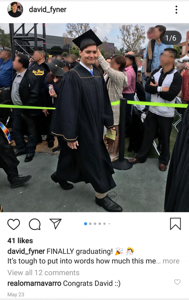 "A screenshot of a photo uploaded to David Feiner's Instagram account picturing Feiner in a cap and gown in front of a crowd of people. A reply from Omar Navarro reading ""Congrats David"" can be seen."