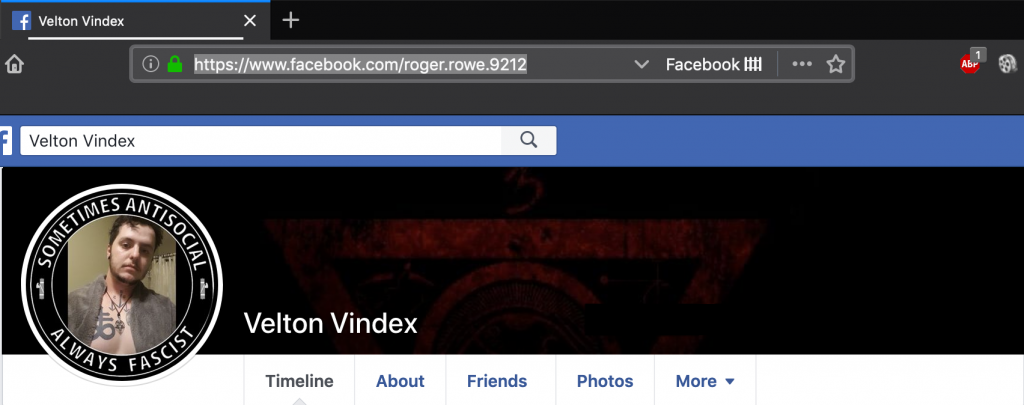 The vanity URL for Roger Rowe's Facebook page lists his real name.